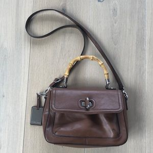 Etienne Aigner Brown Frame Purse Leather Bamboo